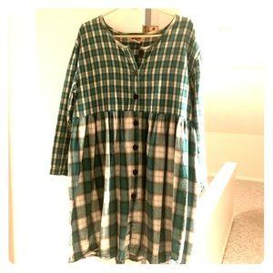 Vintage 90s Grunge Plaid Babydoll Buttondown Dress